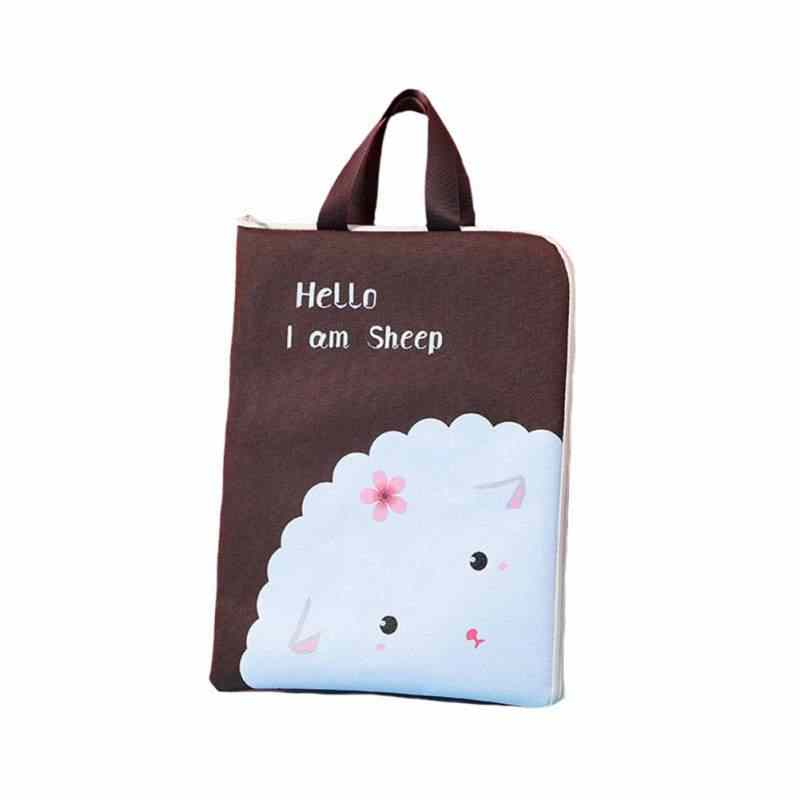 Hot New Zipper File Bag Multifunctional Canvas File Folder Student Portable Storage Bag Document  Organizer