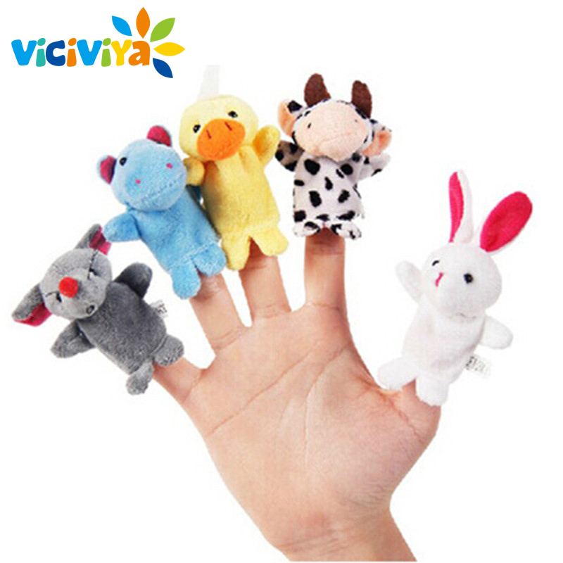VICIVIYA 10Pcs Animal Finger Puppets Set Plush Toys Child Baby Hand Knuffel Dolls Kids Family Handpop Stories Cute Cartoon Gifts