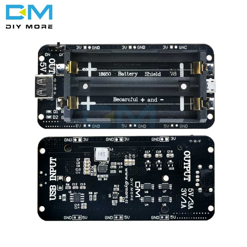 18650 Lithium Battery Shield V8 V3 Mobile Power Expansion Board Module 5V 3V Micro USB Port Type-A For Arduino ESP32 ESP8266