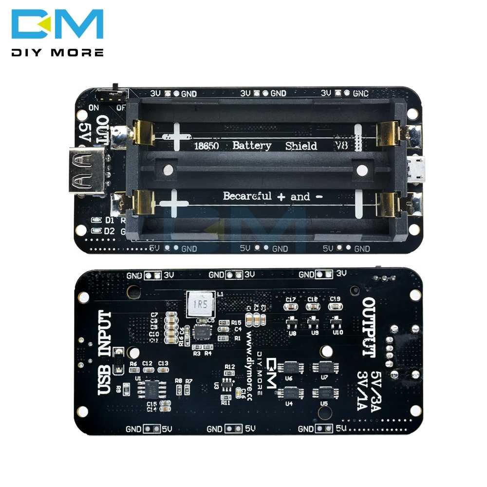 18650 Module de carte d'extension de puissance Mobile V8 V3 bouclier de batterie au Lithium 5V 3V Micro Port USB type-a pour Arduino ESP32 ESP8266
