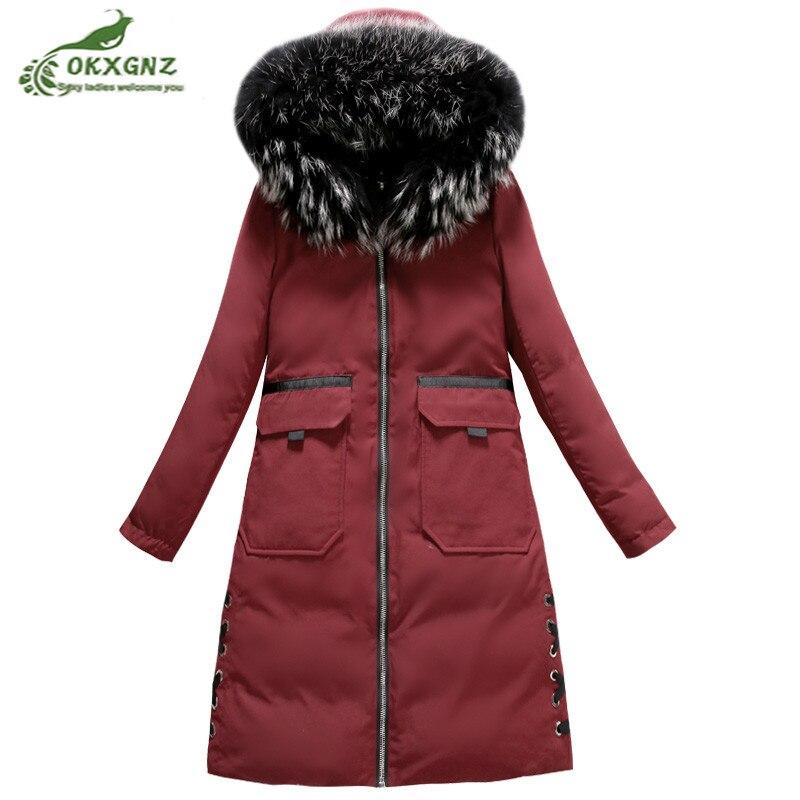 Зимние новые Двусторонняя одежда куртка Женский Средний длинные модные большой меховой воротник куртка пальто женщин утепленный пальто пр