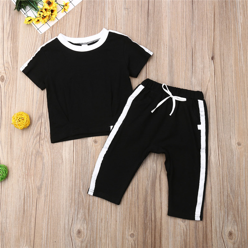 New Children Baby Kids Girls//Boys Clothing Sets Outfits Short Tops+Pants 2-6Y
