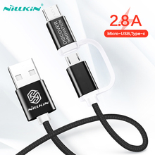 Micro USB Cable Type C Fast Charger For Samsung s10 s9 Note 9 Data Huawei P30 Pro Xiaomi 2 in 1 Cord