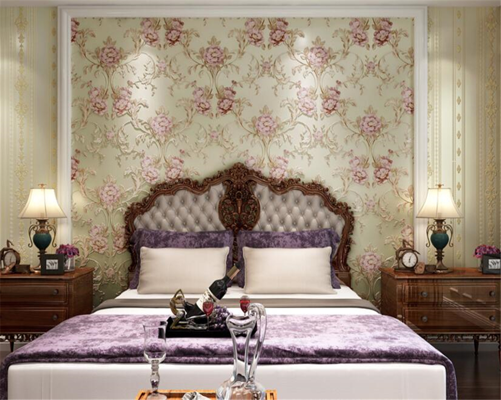 beibehang Big flower AB with stripe nonwoven fabric fine carving 3d wallpaper master bedroom full of high end papel de parede in Wallpapers from Home Improvement
