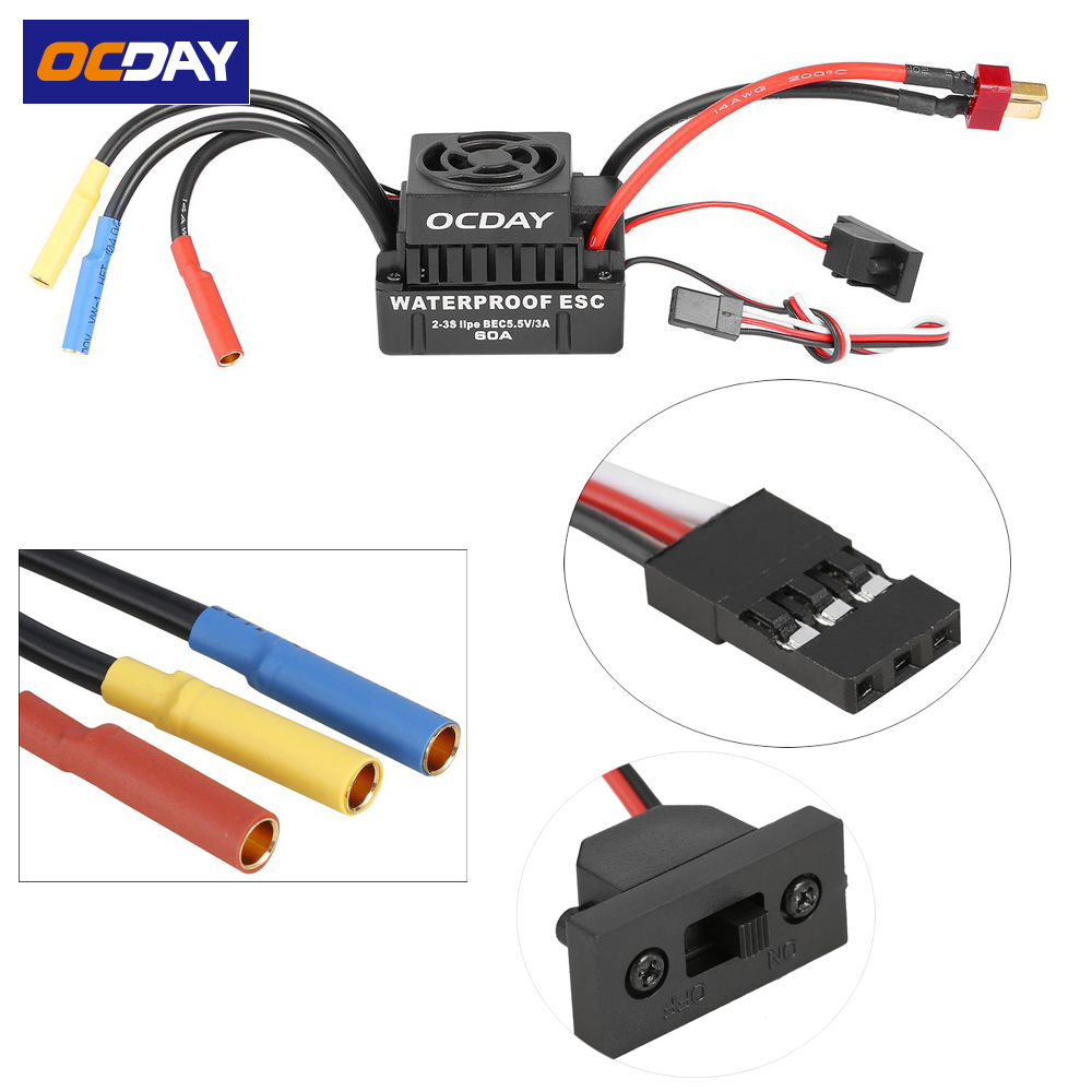 1pcs OCDAY Sensorless Brushless Waterproof ESC 60A for 1/10 RC Car Truck Motor sensorless 35a brushless esc electric speed controller for rc car racing set ft