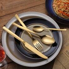 KuBac 24Pcs High Grade Cutlery Gold Stainless Steel Food Silverware Dinnerware Utensil Kitchen Tableware Knives Forks Weddinng