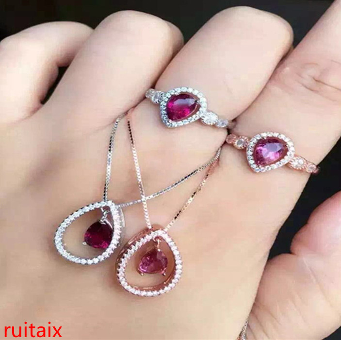 KJJEAXCMY boutique jewels S925 sterling silver inlaid with natural tourmaline drop women's set jewellery gold silver. kjjeaxcmy boutique jewels 925 sterling silver plated rose gold with natural tourmaline collarbone necklace chain