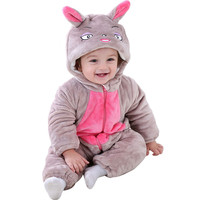 Red Wolf Cantoon Hooded Infant Baby New Rompers Winter Thick Baby Boy Girls Outdoor Wear Cloth Cotton Baby Romper Long Sleeve
