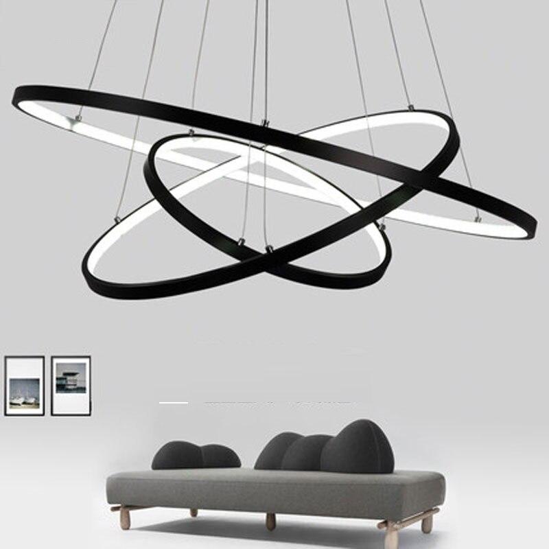 LukLoy Modern Pendant Lamp Hanging Light Living Room Dining Shop Decoration Modern Hanging Lamp Large Ring Acrylic Pendant Light