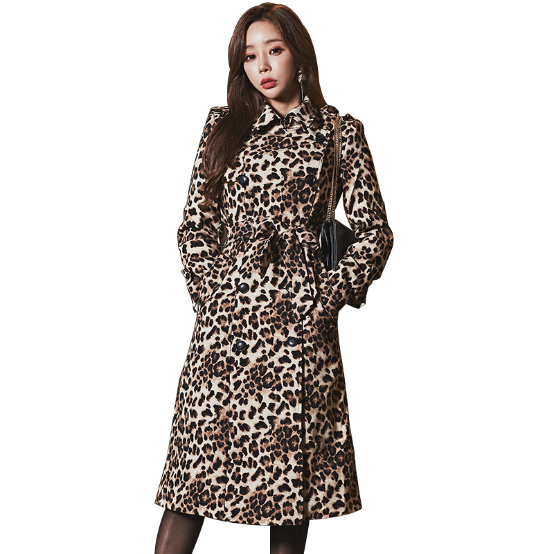 Fashion women comfortable warm long coat new arrival OL high quality temperament outerwear thick holiday outdoor leopard   trench