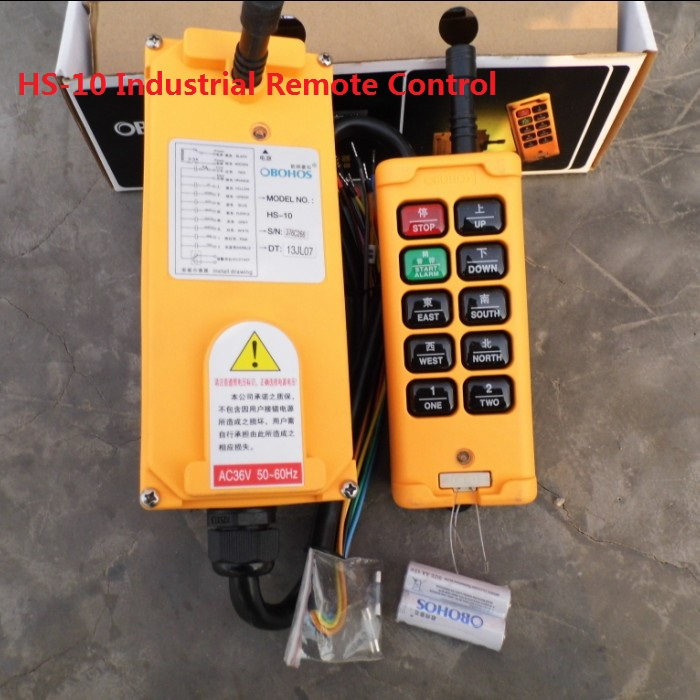 HS-10 220V 10 Keys 1 Speed 1 Transmitter + 1 Receiver Hoist Industrial Wireless Crane Truck Remote Control Push Button Switch nice uting ce fcc industrial wireless radio double speed f21 4d remote control 1 transmitter 1 receiver for crane