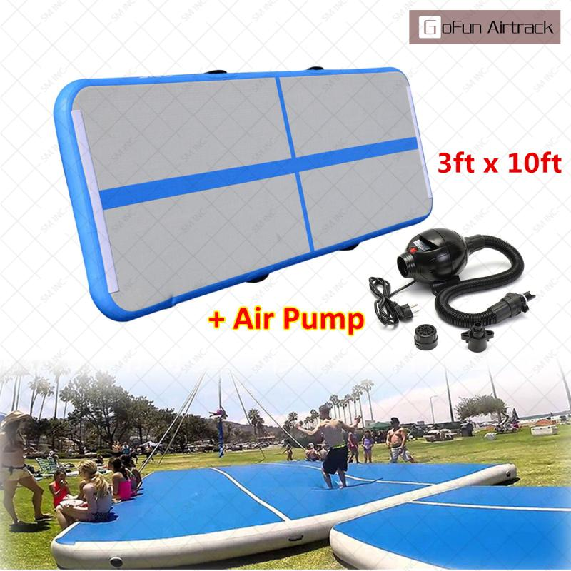 все цены на Gofun AirTrack 10ft x 3 ft Air Tumbling Track Mat Gymnastics Exercise Pad Inflatable Gym Training Mats Balance Beam 110V Air онлайн