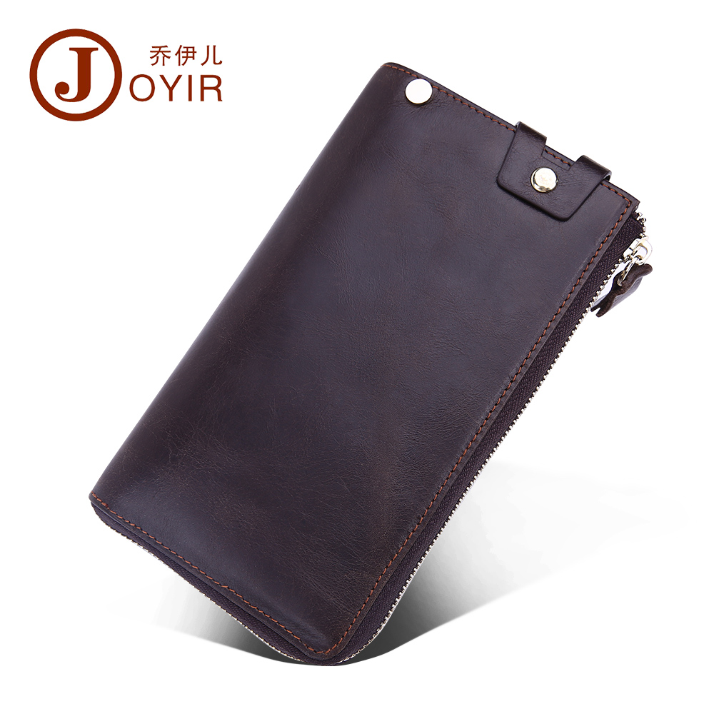 2017 JOYIR New Man Genuine Leather Solid Long Wallet Zipper Money Holder Business Men Clutch Bags Card Holder Purse Hand Bag9338