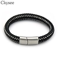 Ckysee Genuine Leather Cool Black Grey Creative Design Stainless Steel Magnetic Buckle Charm Men Leather Bracelet Best Gifts