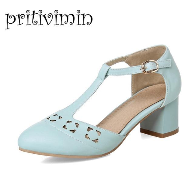 94dd7ccc8bd9 Women lolita low heels designer large size woman shoes ladies comfortable  wedding pumps fashion beige T-strap prom shoes C-15