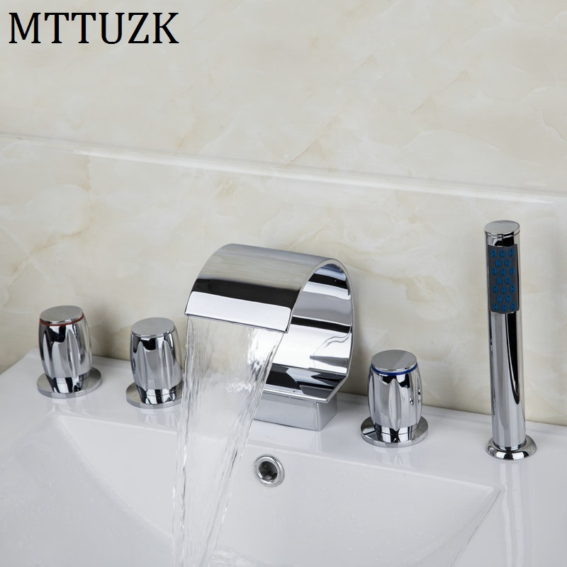 shower bath faucet combo. MTTUZK Widespread Waterfall Roman Deck Mounted 5pcs Bath Tub Tap Faucet Set  Combo Handheld Shower Torneira Polished Chrome Combos Promotion Shop for Promotional