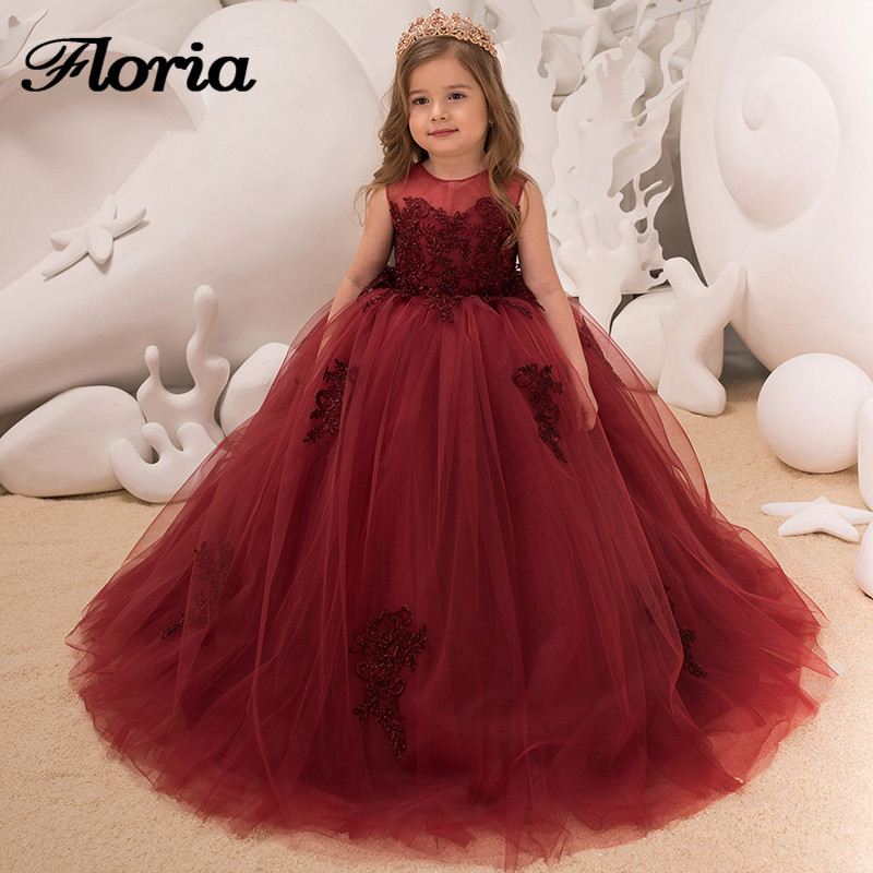2018 New First Communion Dresses For Girls Wine Red Long Girls ...