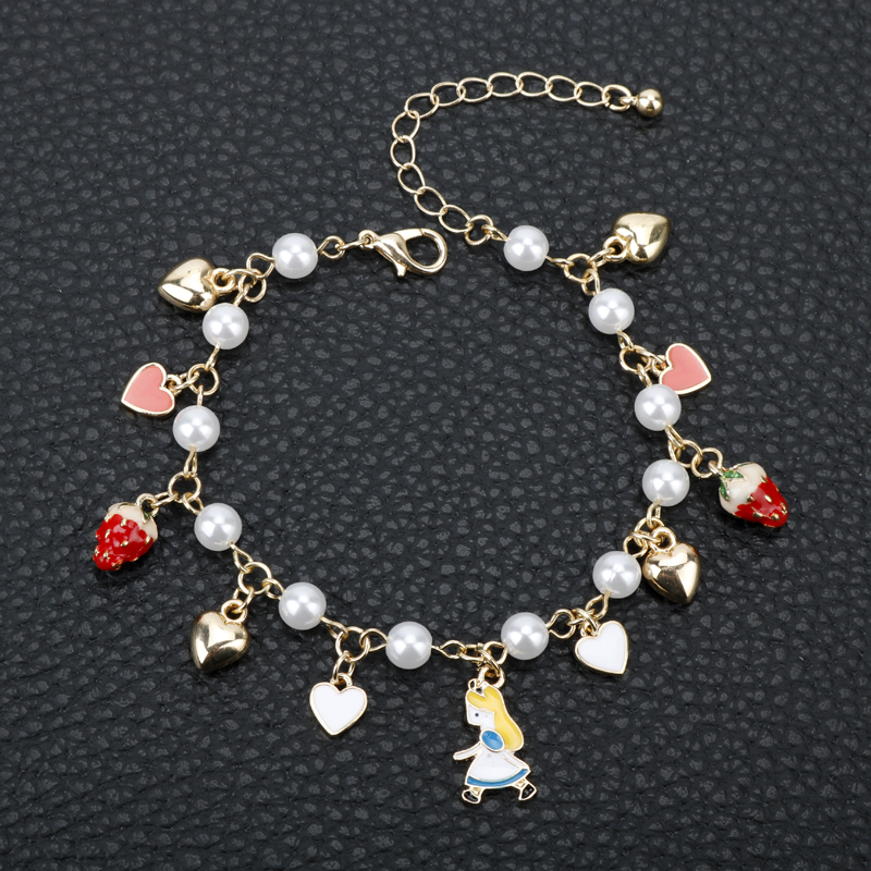MQCHUN Gold Color Alice In Wonderland Charms Bracelets With Heart Imatation Pearl Poker Strawberry Charm Chain Bracelets Bangles