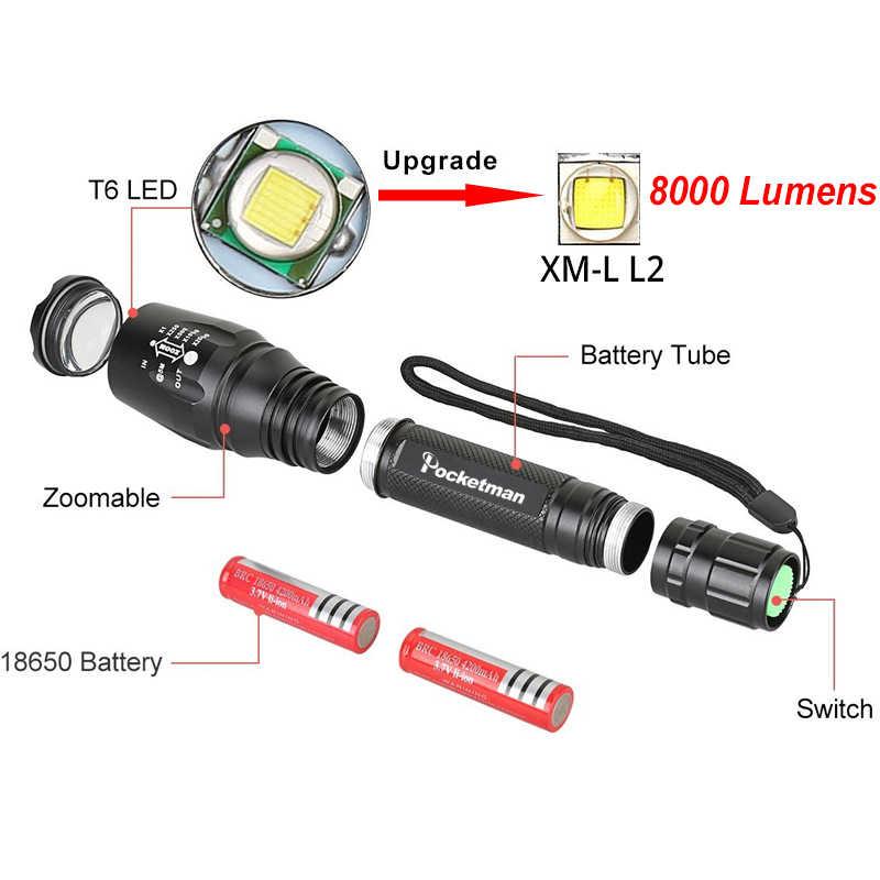 Xách tay Siêu Sáng LED Đèn Pin Có Thể Sạc Lại Có Thể Điều Chỉnh Tập Trung 5 Chế Độ Ánh Sáng Ngoài Trời Không Thấm Nước Torch Linterna Led cho 18650