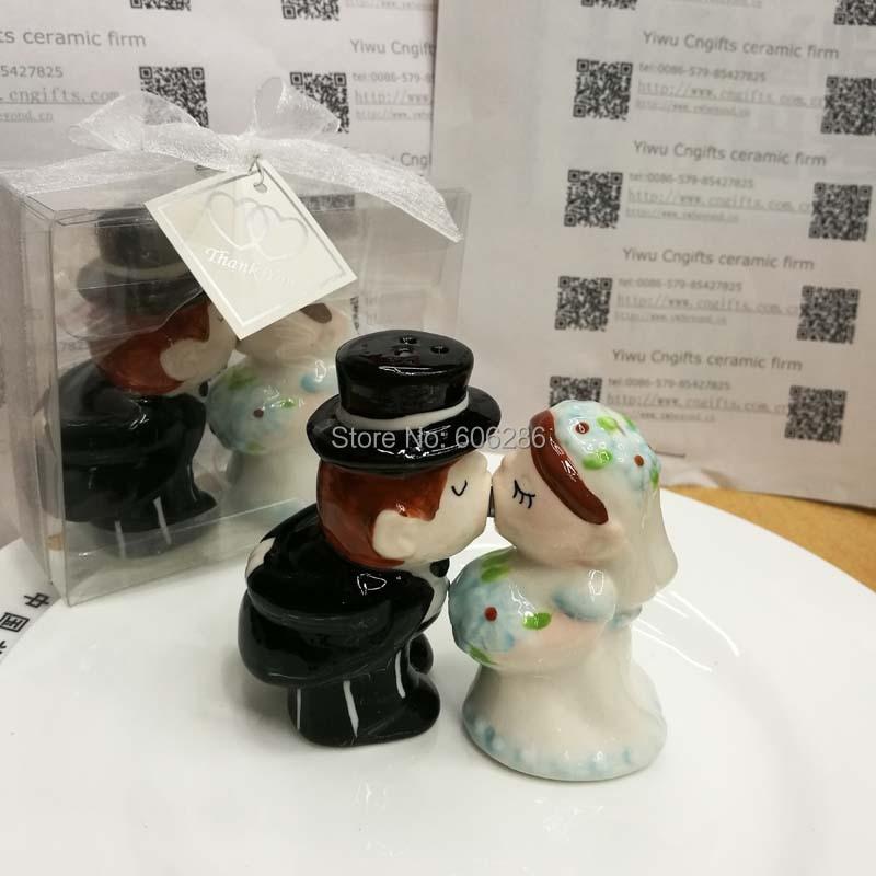 free shipping 60pcs30boxlot ceramic bride and groom salt pepper shaker sets best