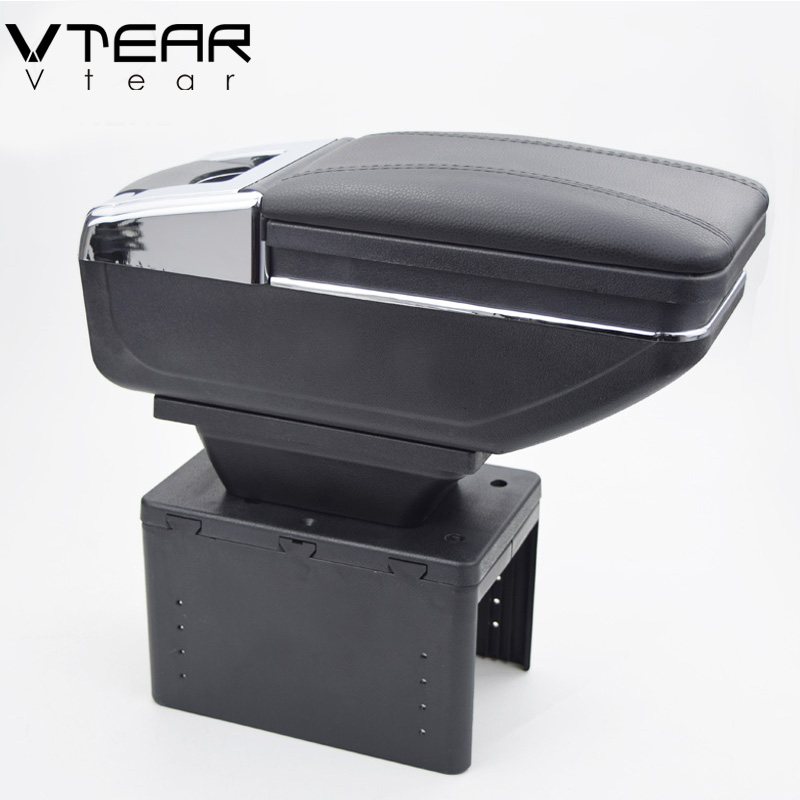 Vtear universal car central container armrest box PU Leather auto car styling central Store content box