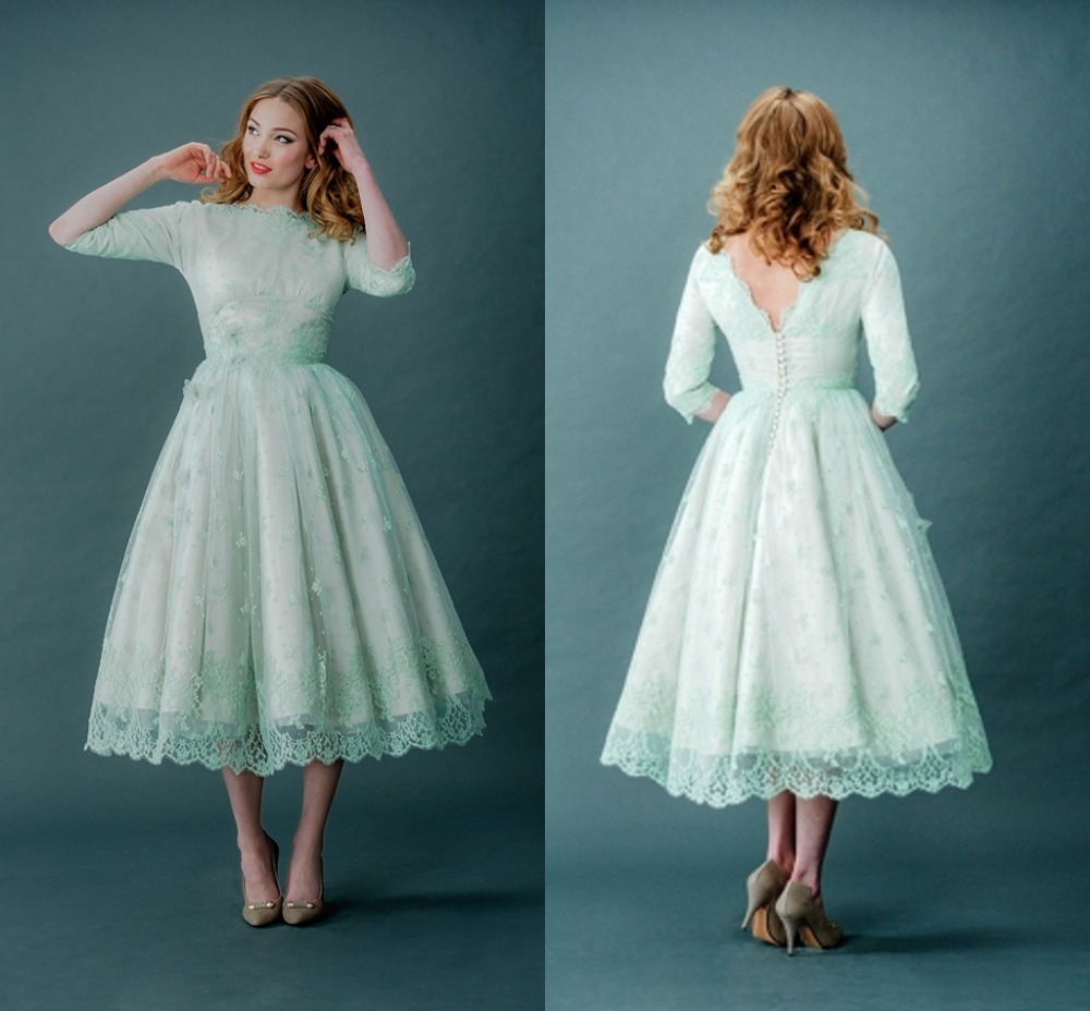 Mint Green Homecoming Dresses Scalloped Neck Half Sleeves Mid Calf ...