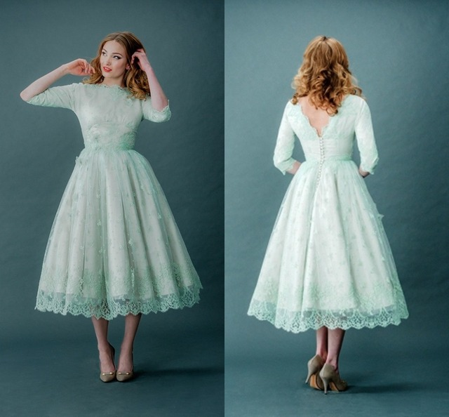 Mint Green Homecoming Dresses Scalloped Neck Half Sleeves Mid Calf Length  Appliques Semi Formal Dresses 8th Grade Ball Gown 2015 901912b71
