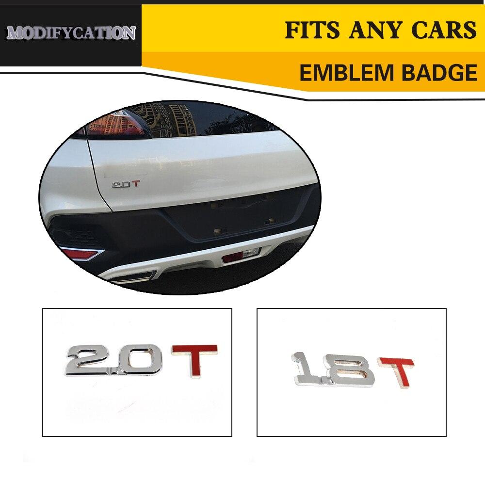 POLISHED CHROME 1.8T 1.8 T FENDER CAR METAL EMBLEM DECAL TRIM BADGE 3M ADHESIVE