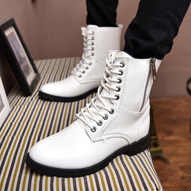 2016 Botas de Inverno Nova Tendência Da Moda Casual dos homens Não-slip Zíperes De Alta Para Ajudar Lazer Sapatos Resistentes Ao Desgaste masculino Martin Botas