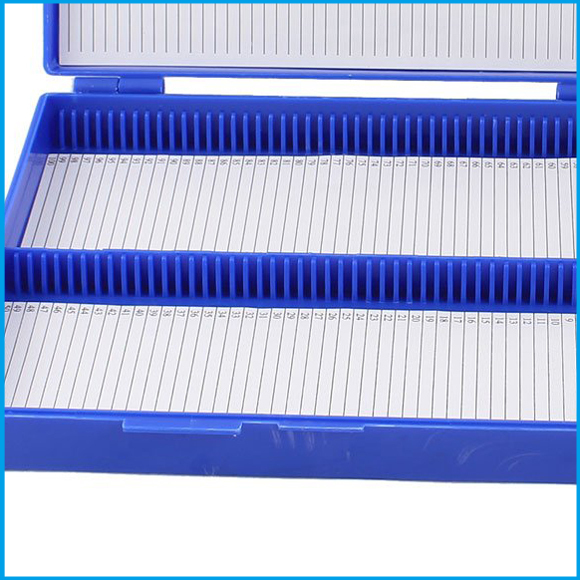 цены Wholesale Royal Blue Plastic Rectangle Hold 100 Microslide Slide Microscope Box