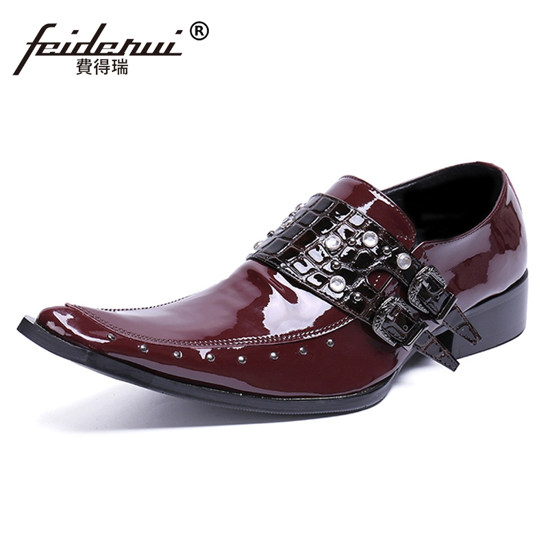 Plus Size Italian Pointed Toe Slip on Studded Man Wedding Loafers Patent Leather Handmade Men's Monk Straps Casual Shoes SL463 недорго, оригинальная цена
