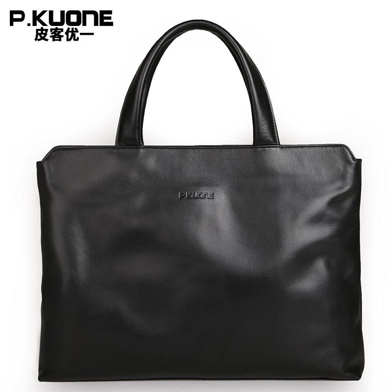 P.Kuone 100% cowhide men genuine leather handbags man business briefcase men's shoulder messenger bags male laptop Briefcases
