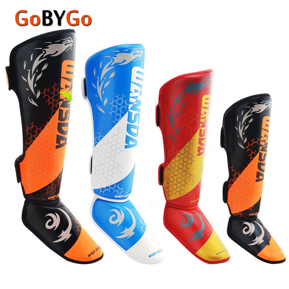 GoByGo Size XS S M L One Pair PU Leather Boxing Shin Guards Ankle Protector MMA Muay Thai Training Foot Kick Boxing PadGoByGo Size XS S M L One Pair PU Leather Boxing Shin Guards Ankle Protector MMA Muay Thai Training Foot Kick Boxing Pad