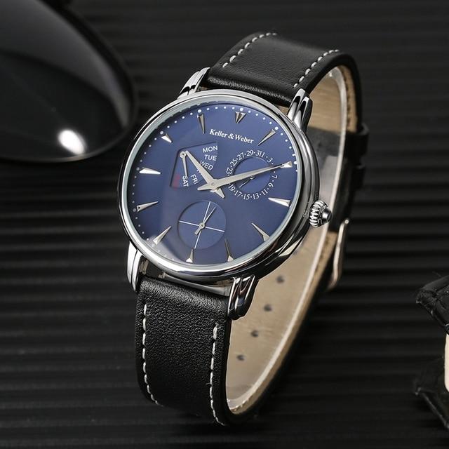 Keller & Weber zegarki męskie luksusowa marka słynny unikalny projektant prawdziwej skóry zegarek kwarcowy na rękę mężczyźni zegar człowiek Reloj Hombre