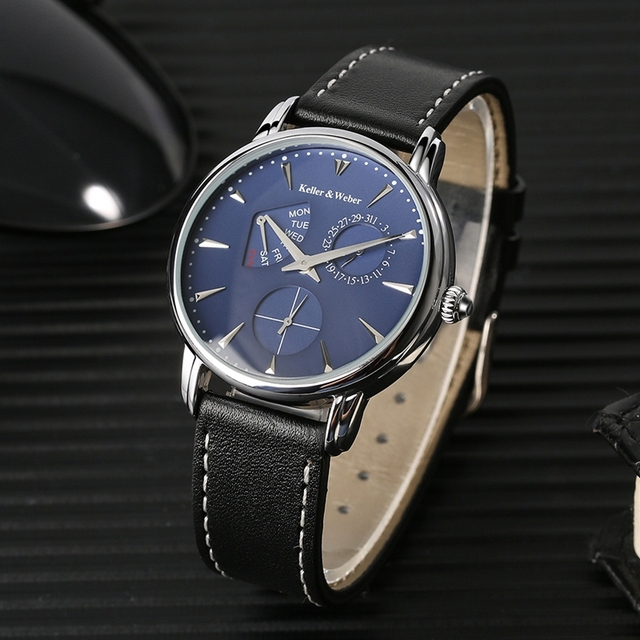 Keller & Weber ساعات رجالية فاخرة ماركة مشهورة فريدة من نوعها مصمم جلد طبيعي كوارتز ساعة معصم الرجال ساعة رجل Reloj Hombre