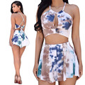 Women Summer 2 Piece Sets Ladies Pleated Flounced Shorts + Sexy Bust Hollow Out Halter Crop Tops Fashion Tie Dye Flare Shorts