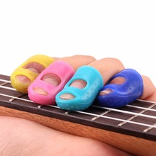 Silicone Fingertip Protector Fingerstall Guitar String Finger Guard Left Hand Against The Press Sore Ballad S/M/L