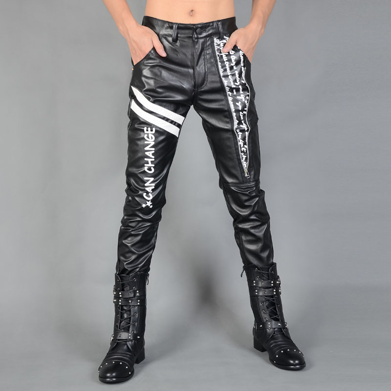 Black motorcycle faux leather pants