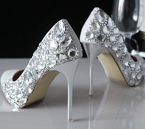 11cm thin high stiletto heeled silver pumps shoes for woman pointed toe big rhinestones crystal ladies party shoes TG541 sales!