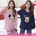 Микки Маус Черный розовый пижамы Большой Размер Беременные Женщины в Осенние и Зимние Пижамы Пижамы