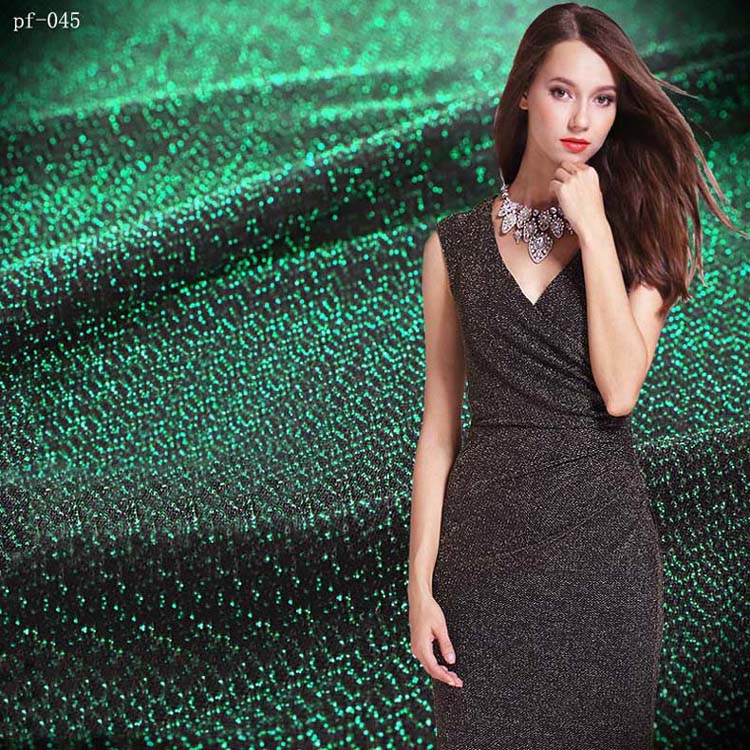 shiny fabric metallic glittery stretchy fashion dress, silk dress, T shirt, jersey knitted fabric fabric