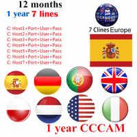 Europa HD 1 año CCCam España Portugal Alemania Polonia receptor de tv satelital 6 líneas para DVB-S2 gtmedia v7s freesat V8 SUPER