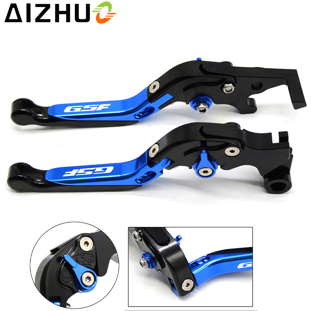 With GSF LOGO Motorcycle Clutch Brake Lever Aluminum Extendable Adjustable Foldable Levers For Suzuki GSF 650 1200 1250 Bandit cnc 6 position folding foldable extendable brake clutch lever for suzuki bandit 1200 2001 2006