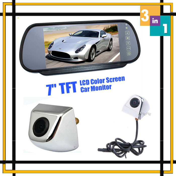 Parking System 7 Lcd Car Monitor Mirror Parking DVD Vehicle Display+ CCD front Camera+ Rear view Camera Parking Backup Camera ccd car backup parking camera intelligent tracks dynamic guidance rear view camera for ford mondeo ba7 kuga s max chia x 06 1
