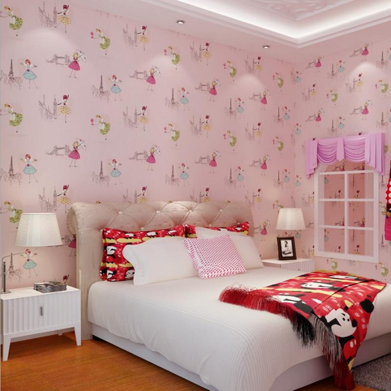 Girls Bedroom Wallpaper Pink Neutral Bedroom Colors For Kids Bedroom Layout Ideas Bedroom Cupboards For Small Rooms: Hot Sale Cute Cartoon Ballet Dancing Girl Wallpaper Lovely