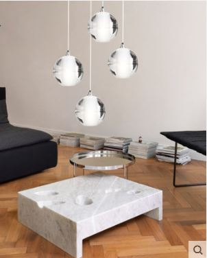 Meteor shower crystal glass ball lamp simple modern personality lighting creative double stairs haze restaurant chandelier