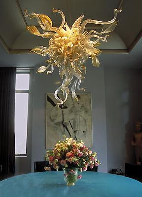 Clear Amber Hand Blown Glass Chandelier Light Modern Art Leaf Design Murano Hanging LED
