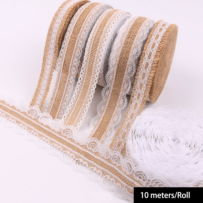 10meters lot 2 5cm Burlap Hessian Ribbons Jute Rolls Lace rustic for DIY Vintage wedding Decoration gift wrapping Ornament Party in Lace from Home Garden