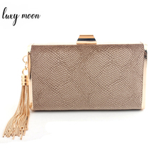 hot deal buy new faux suede evening bags day clutches for women tassel lady evening clutch bag wedding purse banquet gold metal chain handbag