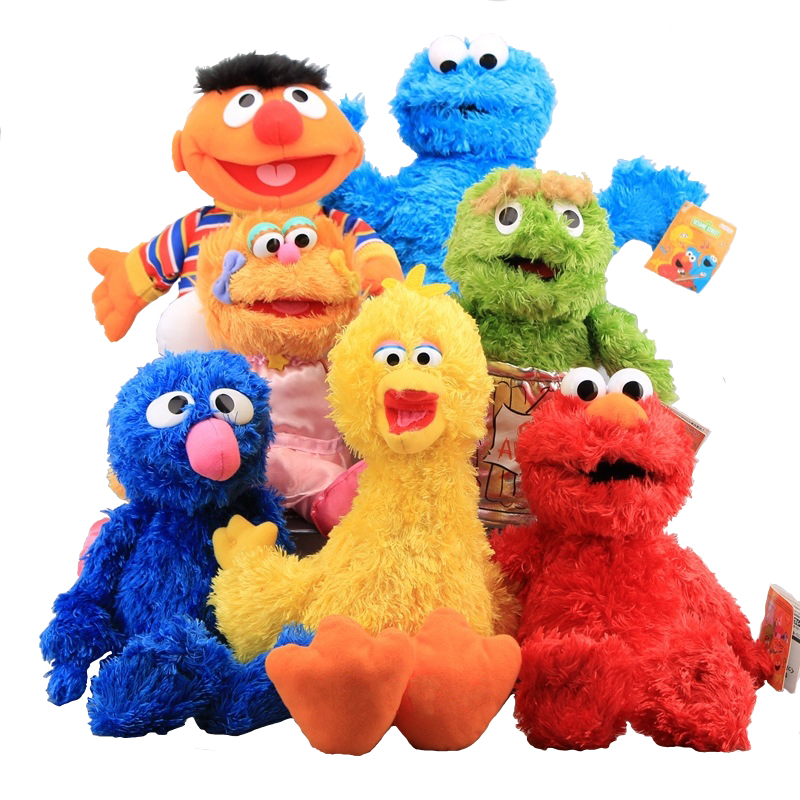лучшая цена Sesame Street Plush Toys 7 Styles 30-40cm Elmo Cookie Grover Zoe& Ernie Big Bird Stuffed Plush Toy Doll Xmas Gift for Children